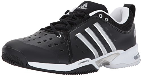 adidas Barricade Classic Wide 4E Tennis Shoe,black/silver metallic/white,9.5 US