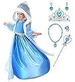YOSICIL Niñas Disfraz Anna Frozen Elsa con Capa Traje de Princesa Disfraz Princesa Accesorios con Corona Anillo Collar Pendientes Fancy Dress Traje Parte Vestido de Fiesta Infantil 3-10 Años