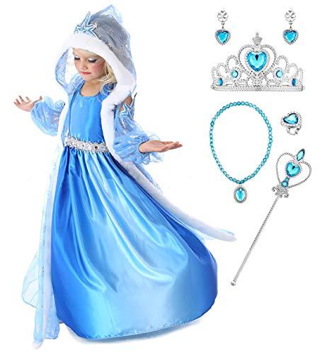 YOSICIL Niñas Disfraz Anna Frozen Elsa con Capa Traje de Princesa Disfraz...