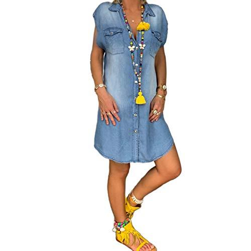 Frauen Casual Kleid Denim Jeanskleid Button Down Blusenkleid Hemdkleid Jeans Longshirts Schickes Freizeitkleid Loose Lässig Kleider Knielang (Blau, M)