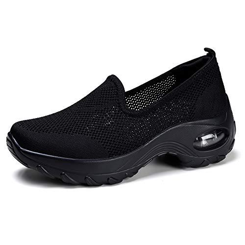 HKR Damen Sportschuhe Laufschuhe mit Luftpolster Turnschuhe Profilsohle Sneakers Leichte Schuhe Schwar EU 39