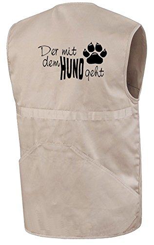 Schlüter Hundesportweste | Der mit dem Hund geht | Beige | Brust- und Rückendruck | Größe XL
