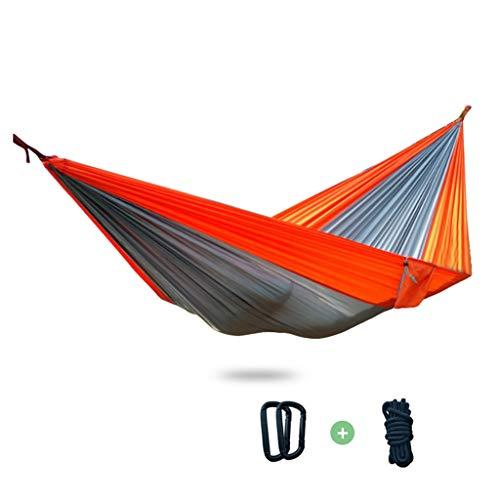 Hamacas Mobiliario de Camping Doble Adecuado for múltiples escenarios paracaídas Tela Resistente al Desgaste y Fuerte Carga de 250 kg (Color : Gray, Size : 270 * 140cm)