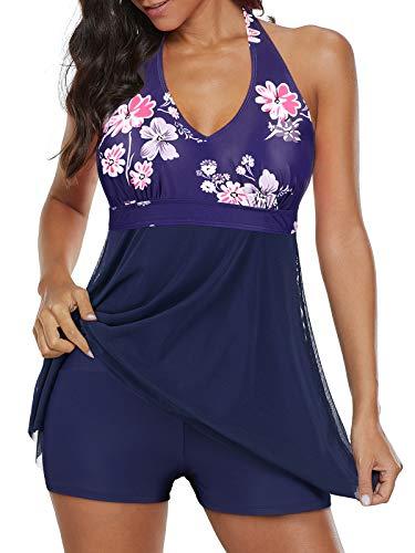 Century Star Womens Athletic One Piece Swimwear Tummy Control Plus Size Swimdress Long Torso Tankini Swimsuit Bathing Suits Navy Floral 8-10