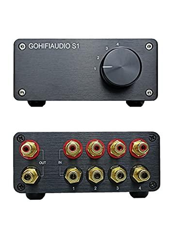 RCA interruptor estéreo 4 en 1 salida de señal de audio interruptor de fuente de alta fidelidad Selector de entrada caja divisor