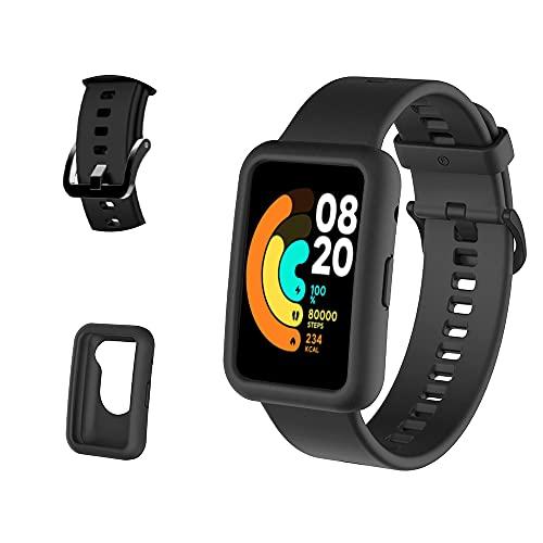 PaceBid Correas + Funda Compatible con Xiaomi Mi Watch Lite/ Redmi Watch Lite , Bandas Repuesto Respirable Ajustable Pulsera Silicone Sport Pulsera Banda para Xiaomi Mi Watch Lite (Black)