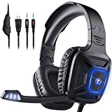 Gaming Headset for Xbox One & PS4, AIMASON Noise Cancelling Over Ear Headphone w/Crystal Stereo Bass Surround Sound & Soft Memory Earmuffs, Headset for Games/Nintendo Switch/PC/Mac/Laptop