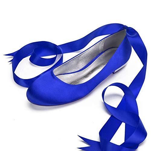 SDJQZ Damen Satin Frühling Sommer Komfort Ballerina Hochzeitsschuhe Flache Ferse Runde Zehen Schnalle Band Krawatte Party Abend High Heel,Blue,38