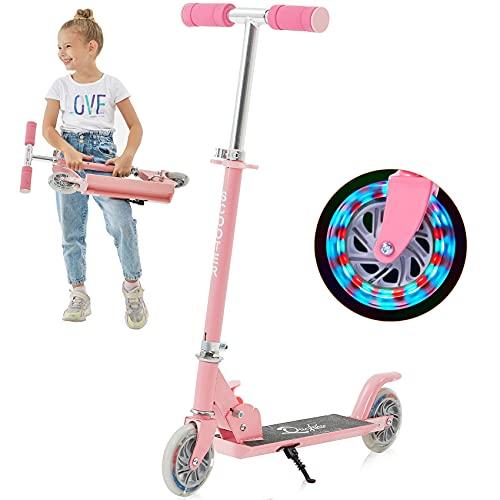 Yuanj Roller Kinder Scooter, Höhenverstellbarer kinderscooter mit LED PU Räder, kinderroller für Mädchen und Jungen 3 -12 Jahre alt (Rosa 2 Wheels)