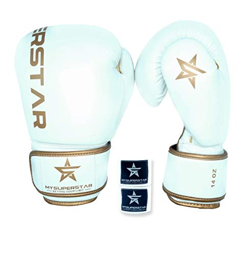 MYSUPERSTARBOXING Pro Boxing Fighting Bag Gloves for Training Sparring Mitts Muay Thai MMA UFC Kickboxing handwraps,Gift for Gym School Class,Punching Bag Gloves Gift for Man Women Kids