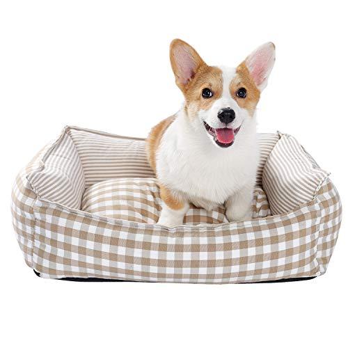 PAWZ Road Cama para mascotas Cama de gato, Cama de perro, Sofá de perro, Sofá de perro, Nido cuadrado para gatos pequeños y perros, polipropileno, algodón, lavable, color beige