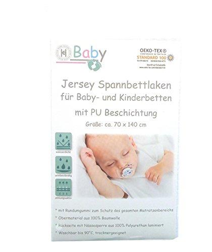 Wasserdichtes Jersey Spannbettlaken fürs Babybett Kinderbett 70 x 140 cm, weiß mit PU-Laminierung
