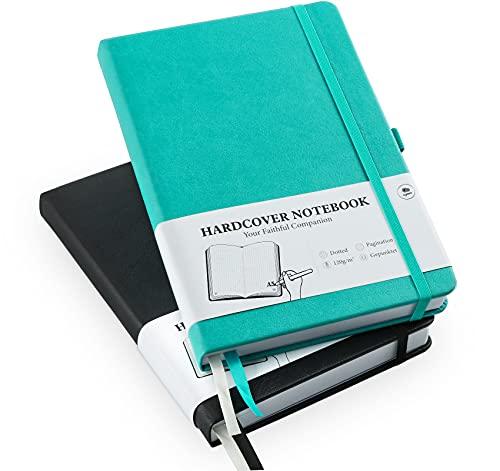 Cuaderno de notas A5, 2 unidades, con cuadrícula de puntos, tapa dura, Bullet Grid Journal Dot Spiral, 120 g/m², papel grueso de puntos, 384 páginas numeradas, 5,7 x 8,3 pulgadas (negro + turquesa)