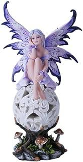 Purple Elegante Flower Fairie Sitting on Changing Color Led Orb MeadowMushroom Fairy Statue