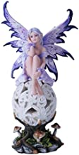 Purple Elegante Flower Fairie Sitting on Changing Color Led Orb MeadowMushroom Fairy Statue