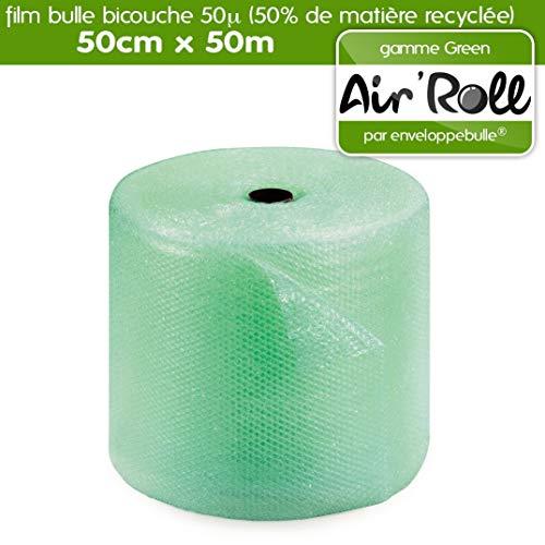 Rollo de película de burbujas RECYCLE 50 cm x 50 metros con 50% de material reciclado tintado verde translúcido – gama Air'Roll GREEN
