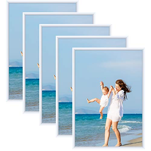 Alishomtll Bilderrahmen DIN A3 Bilderrahmen 5er Set, 29,7x42 cm, Fotorahmen Kunststoffrahmen Set für Mehrere...