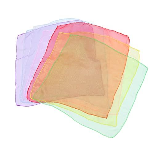 Tomaibaby 7 Pzas Pañuelo Cuadrado de Gasa de Seda Pañuelo de Cinta de Satén Bufanda de Cuello Bufanda de Verano para Las Mujeres Niñas Damas Favor Color Azar