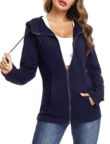Aibrou Zip Hoodie Damen Baumwolle Sweatjacke mit Kapuze Einfarbig Basic Kapuzenjacke Kapuzenpulli Outwear Sweatshirt mit Reißverschluss Jacken für Frühling Herbst - Marine S