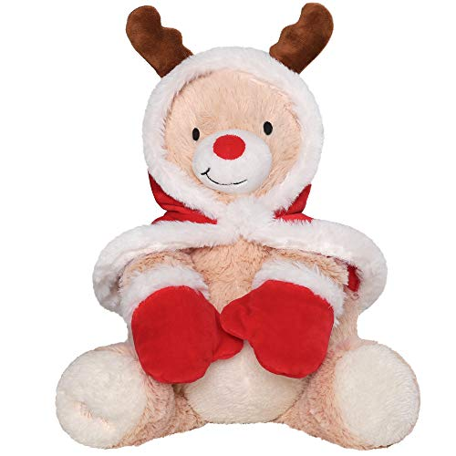 TILLYOU Soft Plush Christmas Reindeer, Baby Shower Decoration Gifts, Stuffed Animals for Boys, Girls, Adults, Gift for Christmas Day(Brown, 10 inches)