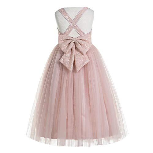 ekidsbridal Crossed Straps A-Line Flower Girl Dresses Junior Bridesmaid Dress Formal Dresses 177 4 Blush Pink