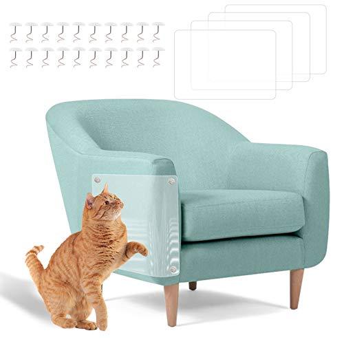 FENRIR Protector de arañazos de Gato Transparente con alfileres Hoja de disuasión de rasguños de Gato para Proteger la tapicería de la Alfombra del sofá, 4 Piezas 20 Pines