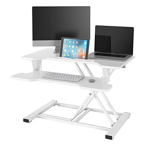 Homfa Sit-Stand Workstation Schreibtisch-aufsatz höhenverstellbar Sitz-Steh-Schreibtisch Aufsatz Desktop Steharbeitsplatz fürs Büro Weiß 81.5x44.5cm