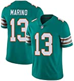 NFL Maillot de rugby Dan Marino 13# Miami Dolphins American Football Jersey Unisexe Tissu à séchage rapide Respirant Col en V Vert S