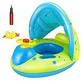 Tencoz Flotador Bebé, Anillo de Natación para Bebés con Toldo y Volante, Flotador de Natación para Bebé, PVC Espesar Seguro contra El Sol, Baby Float Swimming para Niños de 6 a 36 Meses
