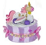 dubistda© Windeltorte mit Name Ziehtier EINHORN rosa – 24-teilig - Geschenke zur Geburt Mädchen