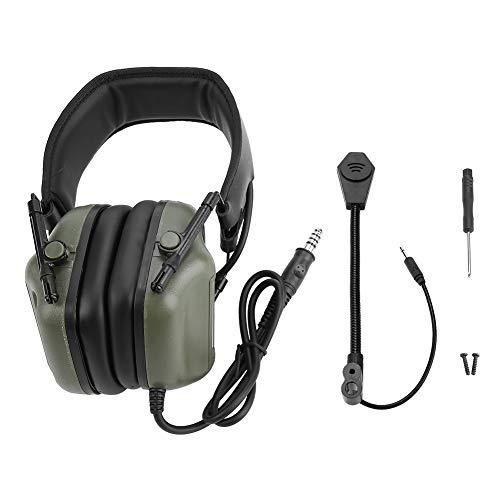 VGEBY1 Auriculares tácticos de Chip de Quinta generación, Audífonos electrónicos con micrófono - Reducción de Ruido y Orejeras de Seguridad de Sonido para PPT, Radio Militar, Aeropuerto(Verde)