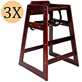 Wooden high Chair for Babies, Infants and Toddlers + highchair Safety Straps, for Restaurant and Home use, Mahogany, 3 Pack.