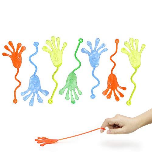 VCOSTORE 72 Piezas Mano pegajoso, Manos elásticas Adhesivas de Vinilo, Dedos Adhesivos Brillantes para Regalo de cumpleaños de niños