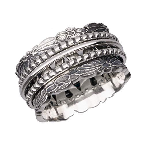 Energy Stone Chrysantheme - Spinner-Ring aus Sterlingsilber mit DREI Drehringen (Style UK78)