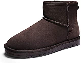 SHENTIANWEI Snow Boots for Men Winter Ankle Shoes Pull on Suede Upper Lightweight Flat Anti Slip Fleece Lined Keep Warm Classic Vegan (Color : Coffee, Size : 5.5 UK)
