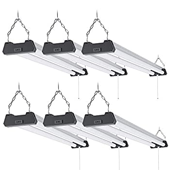 Sunco Lighting 6 Pack Industrial LED Shop Light 4 FT Linkable Integrated T8 Fixture 40W=260W 4000K Cool White 4000 LM Surface + Suspension Mount Pull Chain Garage Light - Energy Star