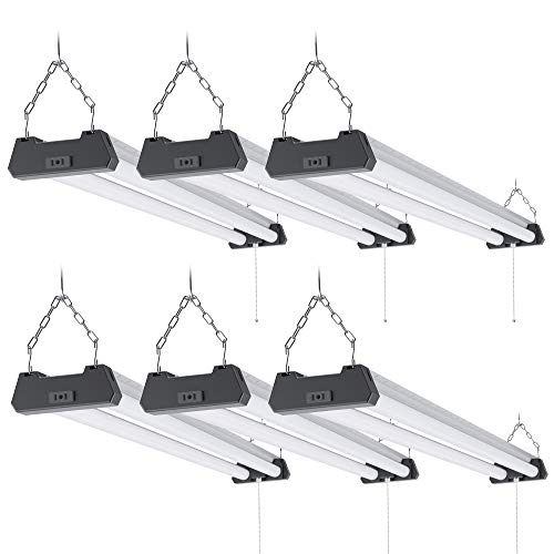 Sunco Lighting 6 Pack Industrial LED Shop Light, 4 FT, Linkable Integrated Fixture, 40W=260W, 5000K Daylight, 4000 LM, Surface + Suspension Mount, Pull Chain, Utility Light, Garage- Energy Star