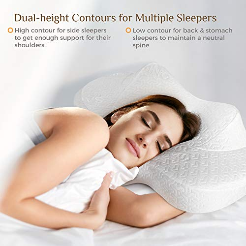 Sagino Cervical Memory Foam Pillow, Orthopedic Support with Contouring Comfort, Cradles Neck & Shoulder for Multiple Sleeping Positions, 2 Zip-Off Covers Included, CertiPUR-US Certified