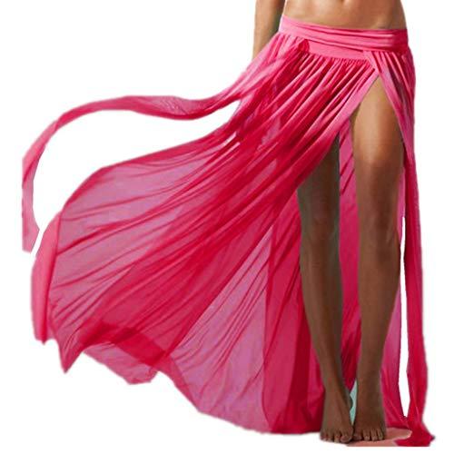 ERGEOB Damen Strandkleid Elastische Gazerock Strandrock Vier stück (ohne Bikini), 03 rosa, one size