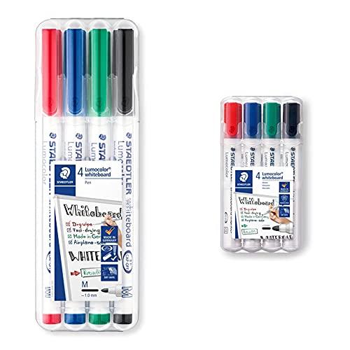 STAEDTLER Lumocolor 301 WP4 - Rotulador para Pizarra Blanca, Estuche de 4 + 351 WP4 - Rotuladores para pizarra blanca Lumocolor, inodoro, secado rápido y recargable, paquete de 4