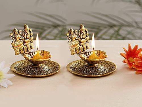 Sataanreaper Präsentiert Metall Laxmi Ganesh Hand Diya Mit Für Pooja Oder Als Puja Artikel Hath Deepak (3X3 Zoll, Gold, 2 Stück) # Sr-071
