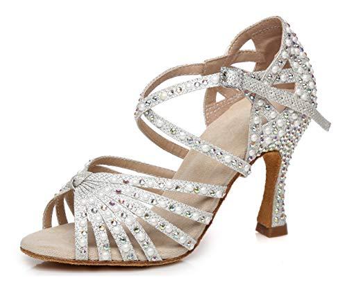 MINITOO Damen Tanzen Schuhe Tanzschuhe Latein Salsa Glitzer L429 Silber EU 40