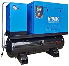 HPDMC ASME Rotary Screw Air Compressor With Tank & Refrigerated Dryer - 10HP/ 39CFM@125PSI / 460-480V / 60Hz / 3-Phase/ASME 80 Gallon All-in-One Side Industrial Air Compressed System