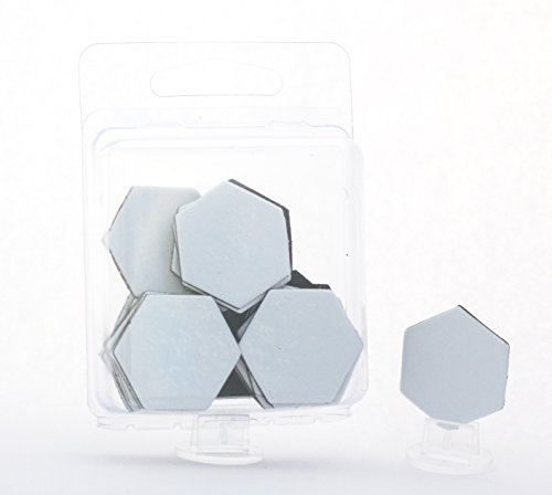 """Value Pack of 24 - Dry Erase - Reusable - Blank 1"""" Hexagon Hex Board Game Chits Tiles Counters Markers DIY D&D"""