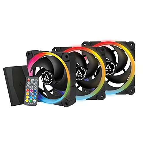 ARCTIC BioniX P120 A-RGB (Bundle 3 pc, Incl. A-RGB Controller) - 120 mm Ventilador de Caja, PWM, Optimizado para la Presión Estática, Enfriador, Rodamiento Dinámico Fluido, 400-2300 RPM - Negro