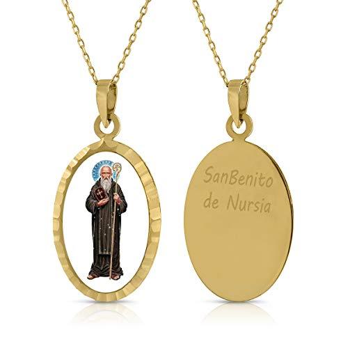 Gargantilla Collar Oro de Ley. Niña/Mujer. Virgen San Benito con cadena. Medida 12x18 mm. (1-4930)
