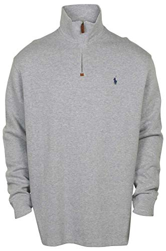 Polo Ralph Lauren Mens Half Zip French Rib Cotton Sweater (XX-Large, Grey Heather/Navy Pony)