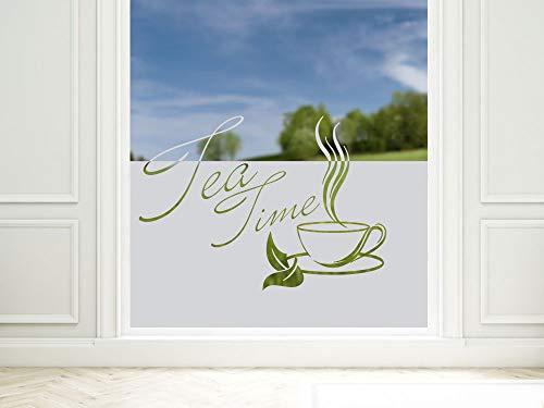 GrazDesign Inkijkwerende folie voor keuken, belettering Tea Time, raamfolie voor decoratie/zichtbescherming, glasdecoratiefolie ondoorzichtig 100x57cm