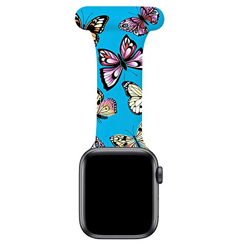 LJLB Fob for Apple Watch Strap 38 mm 40 mm, Pattern Printed Silicone Pin Fob Infection Control Design for Nurses Doctors Healthcare Beauticians Compatible con iWatch Series SE/6/5/4/3/2/1, Butterfly