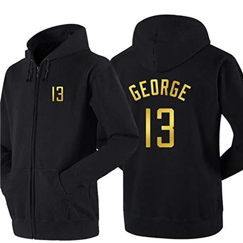 DDOYY George # 13 Clippers - Chaqueta de baloncesto con cremallera, manga larga, con capucha para interiores y exteriores, color negro y XXL